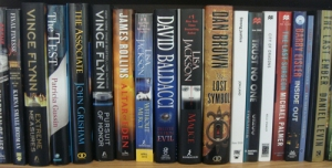 Thrillers bookshelf TracyReaderDad